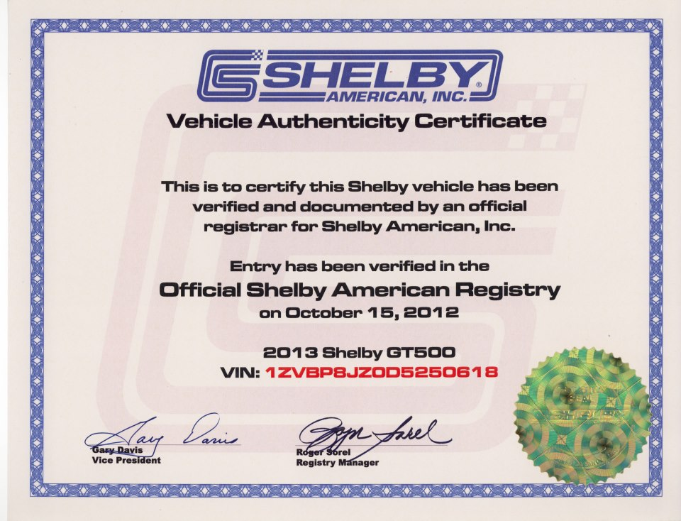 Shelby Certificate